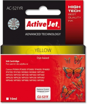CARTUCHO COMP ACTIVEJET CANON CLI-521Y YELLOW