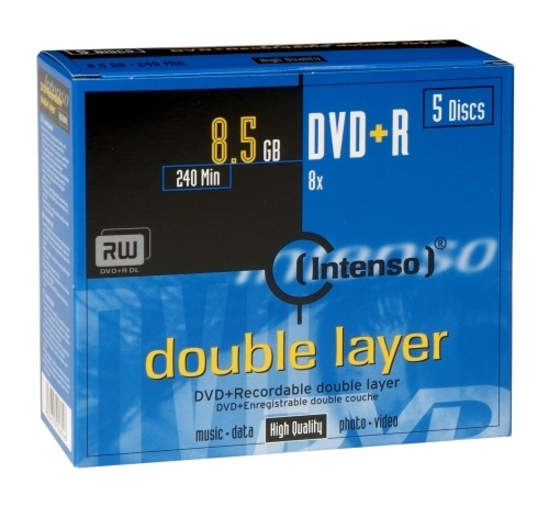 CONSUMIBLE INTENSO DVD+R 8.5GB DL 5PCS 8X CAJA