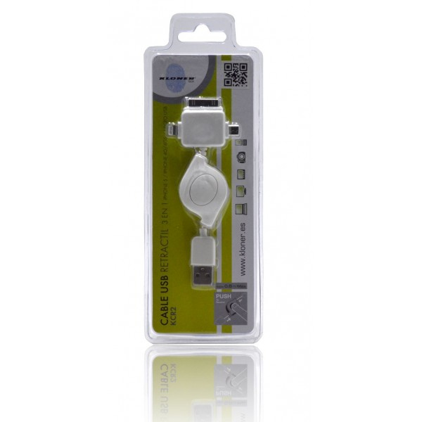 CABLE LIGHTNING/USB KL-TECH KCR2 APPLE 3 EN 1
