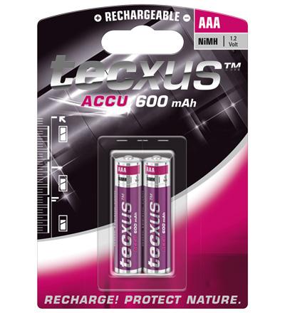 PILAS RECARGABLES TECXUS AAA 600mAh (PACK 2)