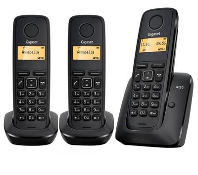Gigaset A120 Trio - teléfono inalámbrico con ID de llamadas + 2 auriculares adicionales