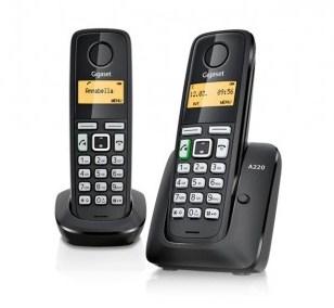 Gigaset A220 Duo - teléfono inalámbrico con ID de llamadas + auricular adicional