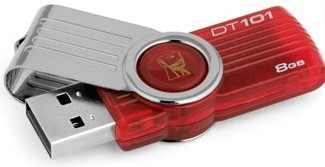PENDRIVE 8GB USB2.0 KINGSTON DT 101 G2 ROJO