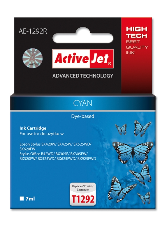 CARTUCHO COMP ACTIVEJET EPSON T1292 CYAN AE-1292R