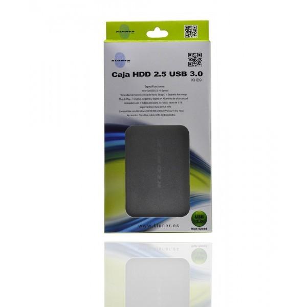 CAJA EXTERNA 2.5  USB 3.0 SATA  KL-TECH KHD9 PLATA