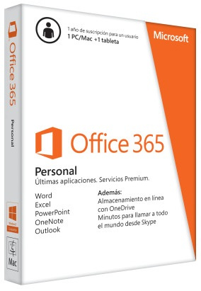 SOFTW MICROSOFT OFFICE 365 PERSONAL 1US 1AÑO