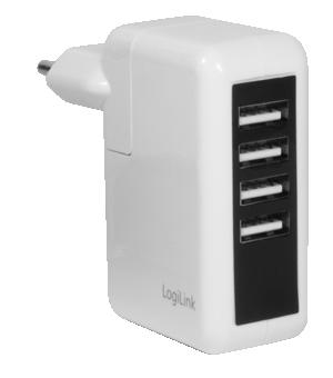 CARGADOR USB X4 CASA LOGILINK PA0062