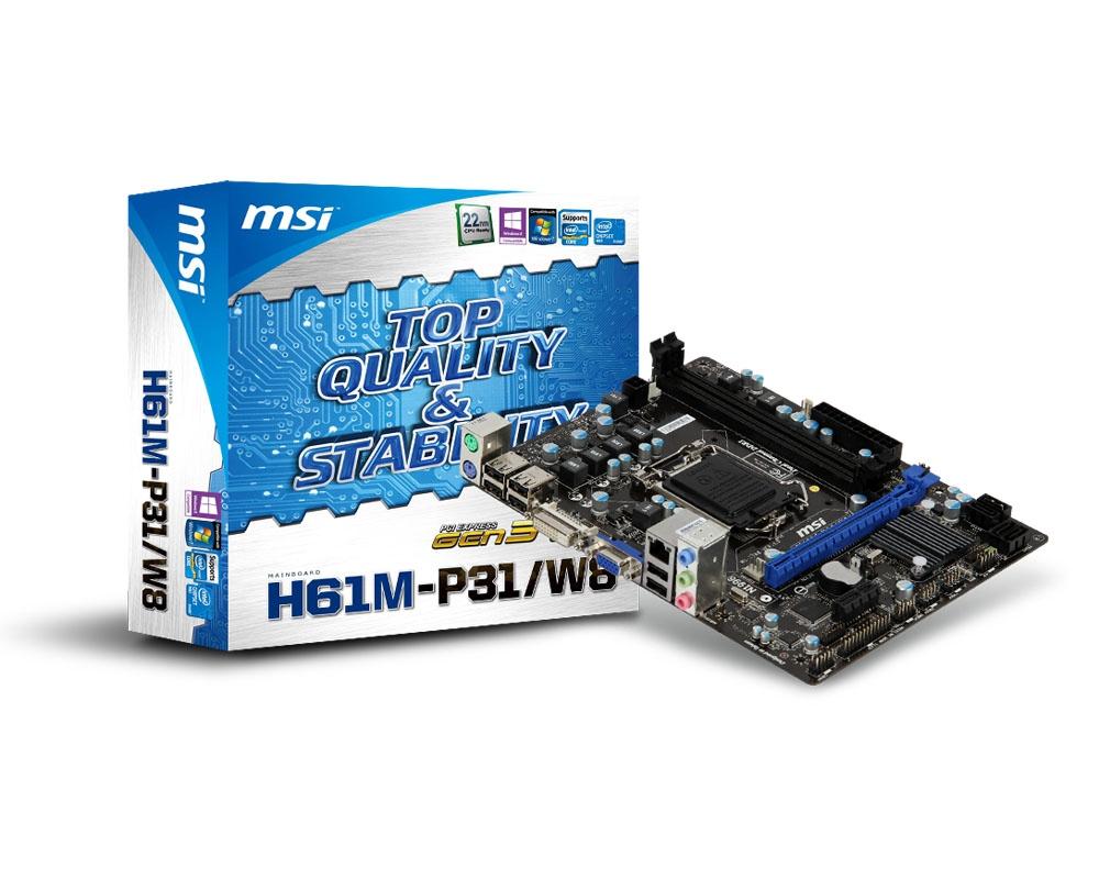 PB MSI 1155 H61M-P31/W8