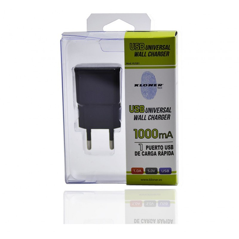 CARGADOR USB CASA KL-TECH KUSB1 NEGRO