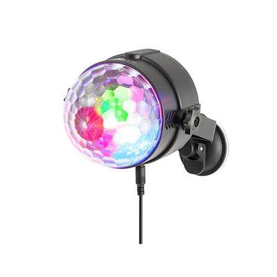 MINI BOLA DE DISCOTECA NGS USB PARTY LIGHTS SPECTRA RAVE - GIRATORIA - 3 LEDS RGB - ACTIVACIÓN POR SONIDO - MANDO A DISTANCIA - USB