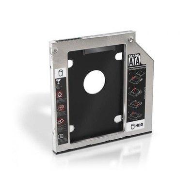 """ADAPTADOR PARA PORTÁTIL AISENS A129-0151- PARA SUSTITUIR DVD DE 9.5MM POR HD/SSD DE 2.5""""/6.35CM 7MM - SATA - INCLUYE TORNILLOS DE MONTAJE"""