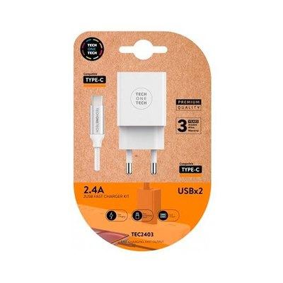CARGADOR DOBLE + CABLE USB-C TECH ONE TECH BLANCO